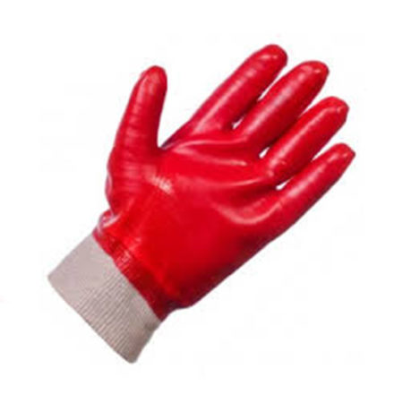 PVC Glove with Knitted Wrist