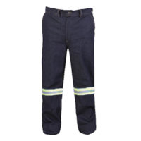 Denim overall trousers with reflective tape